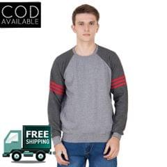 American-Elm Men's Grey Color Full Sleeve Sweater