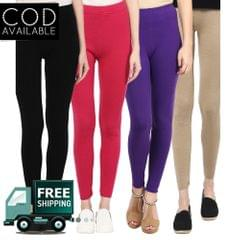 American-Elm Pack of 4 Women's Ankle Length Cotton Legging
