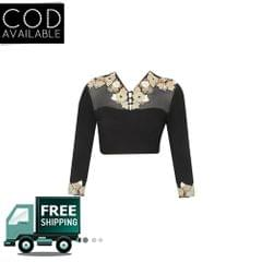 Isha Enterprise New Design Of Black Net Embroidered Blouse Material