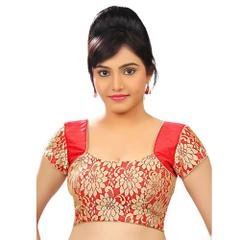 Isha Enterprise Red Designer Net Blouse Material
