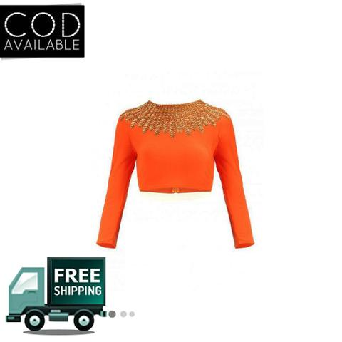 Isha Enterprise New Design Of Orange Banglori Embroidered Blouse Material