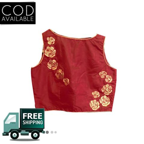 Isha Enterprise Latest Maroon Banglori Embroidered Blouse Material