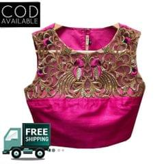 Isha Enterprise New Pink Dhupian Embroidery Blouse