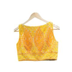 Isha Enterprise Latest Yellow Soft Georgette Embroidery Blouse Material