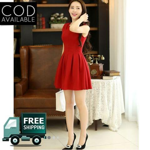 Isha Enterprise Red Cotton Western Dress