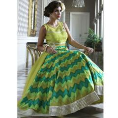 Isha Enterprise Lime Green Bhagalpuri Digital Print Gown