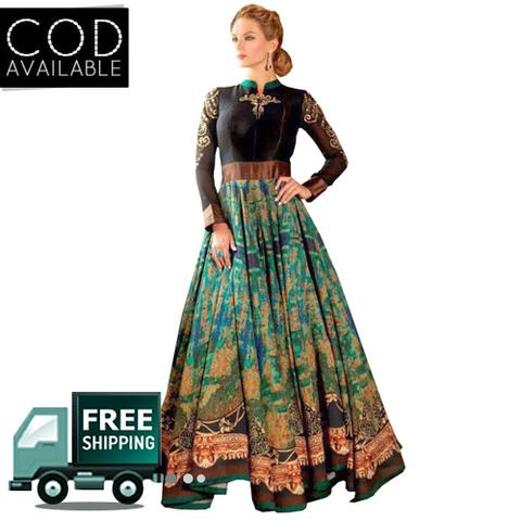 Isha Enterprise Black & Green Bhagalpuri Designer Gown