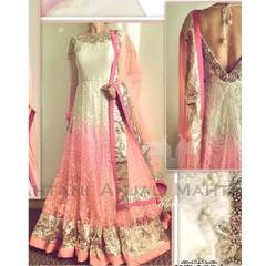 Isha Enterprise New White & Pink Floor Touch Banglori Silk With Mono Net Gown