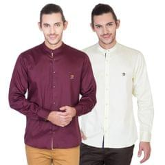 Real Cotton Combo Of 2 Men's Full Sleeves Shirts
