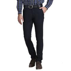 MSG Navy Blue Slim Flat Trousers