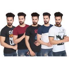 Pack Of 5 Vrgin Round Neck Stylish Printed T-Shirts