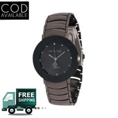Gemini Gold Designer Analog Black Stainless Steel Watch For Men
