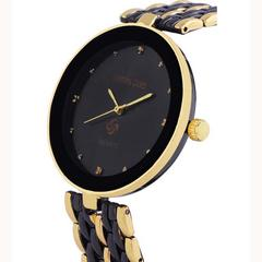 Gemini Gold Designer Analog Black-Gold Stainless Steel Watch For Men
