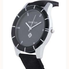 Gemini Gold Designer Analog Black Strap Watch For Men