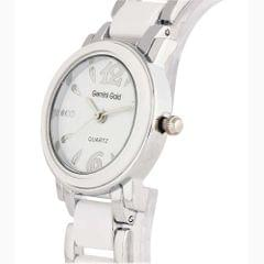 Gemini Gold Designer Analog Silver Stainless Steel Watch For Women