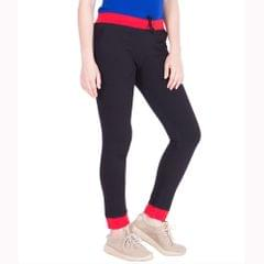 American-Elm Women's Cotton Black & Red Trackpant