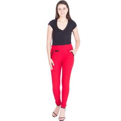 American-Elm Women's Red Stretchable Jegging