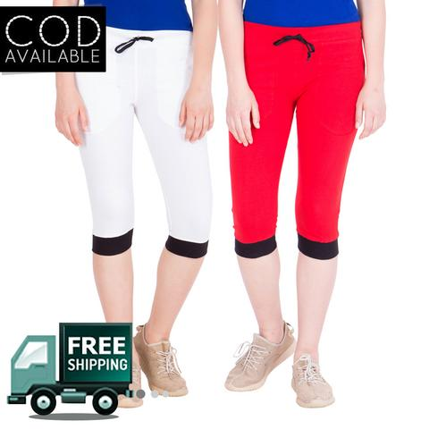 American-Elm Women's Pack of 2 White-Red Cotton Capris