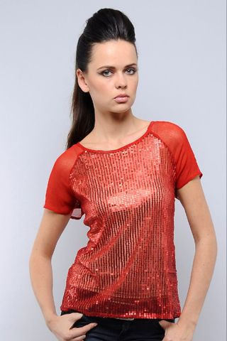 Red Sequins Top Chiffon With Sequins Top /TSF1515
