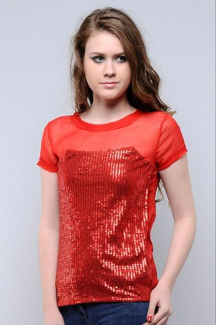 Red Sequins Top Chiffon With Sequins Top /TSF1519