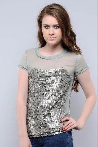 Green Sequins Top Chiffon With Sequins Top /TSF1520