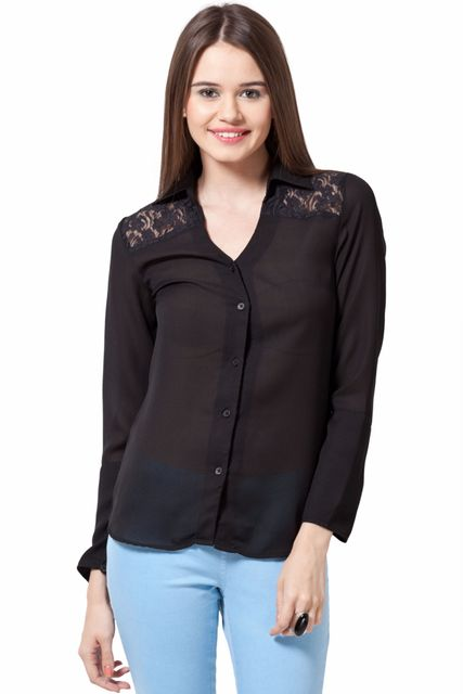 3-4 Sleeve Shirt With Lace Yoke And V Neck With Shirt Collar Casual Top /TSF1731
