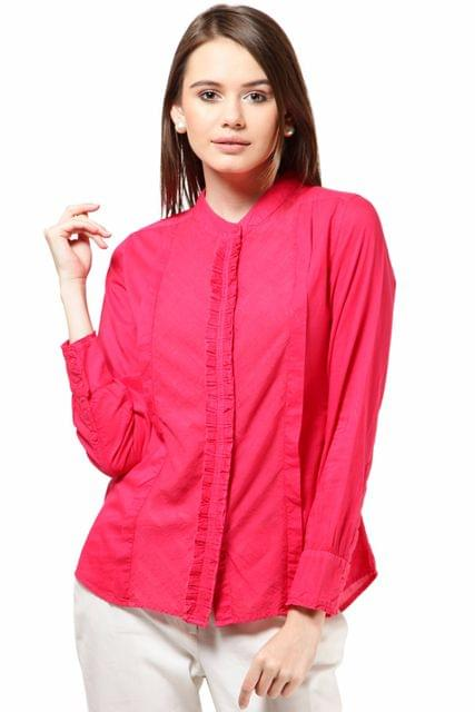 Full Sleeve Overdyed Shirt Frills At Placket Cotton Voil Fabric Casual Shirt /TSF1744