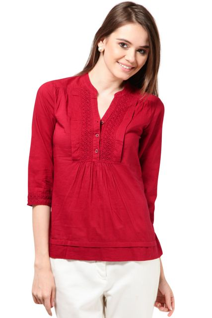 Top With Cotton Lace Styling At Front Placket Cotton Voil Fabric Casual Top /TSF1753