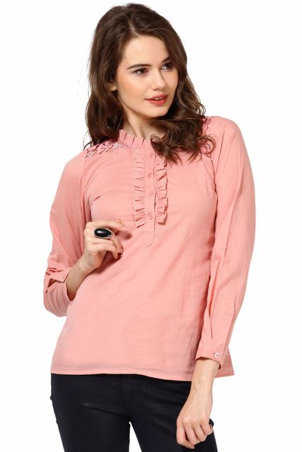 Cotton Voil Frilled Top With Lace Yoke Casual Top /TSF1762
