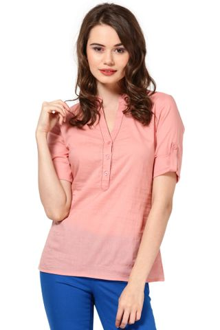 Cotton Voil Henley Top With Fageting Details Casual Top /TSF1766