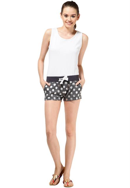 Charcoal Printed Cotton Jersey Short /SHF1953