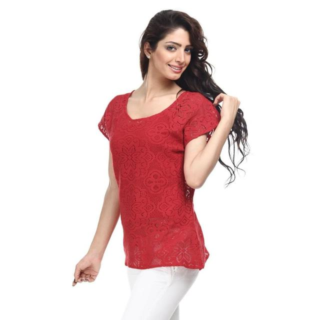 Cotton Lace Top Casual Top /TSF1818