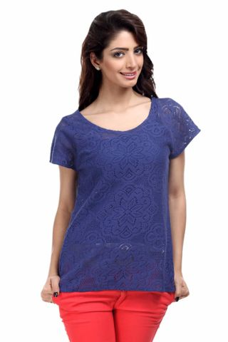 Cotton Lace Top Casual Top /TSF1819