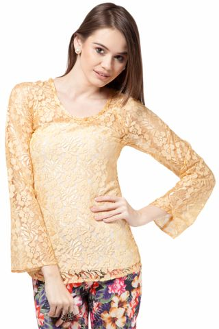 Long Sleeve Top In Nylon Lace Fabric Casual Top /TSF1838