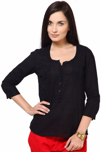 Cotton Dobby Top With Fageting Details Casual Top /TSF1842