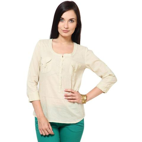 Cotton Dobby Top With Fageting Details Casual Top /TSF1843