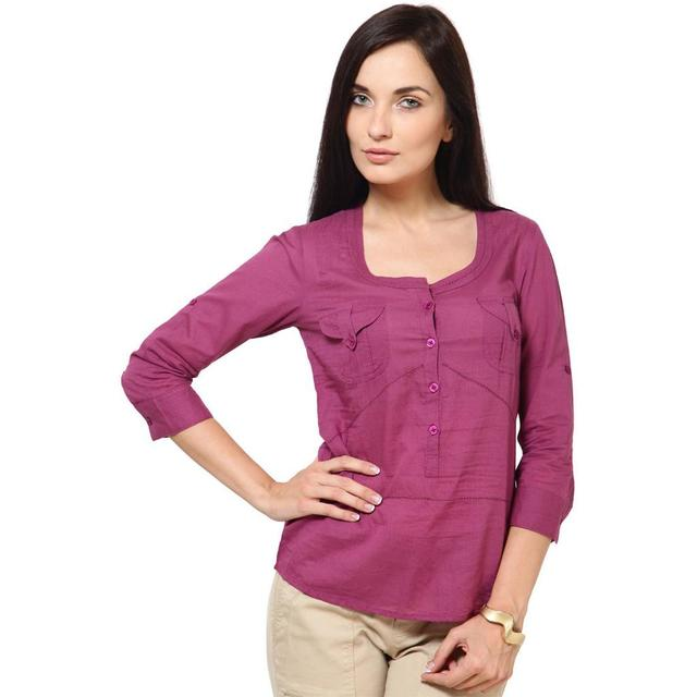 Cotton Dobby Top With Fageting Details Casual Top /TSF1844