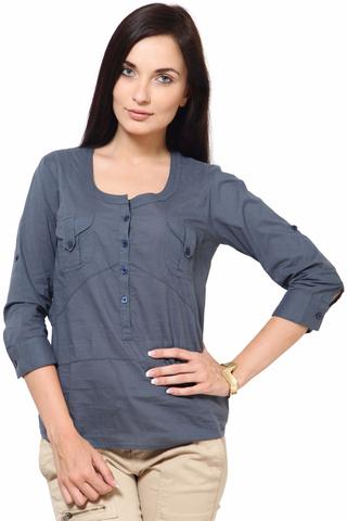 Cotton Dobby Top With Fageting Details Casual Top /TSF1845