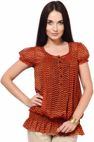 Orange Pleated Top With Smoking At Bottom Casual Top /TSF1870