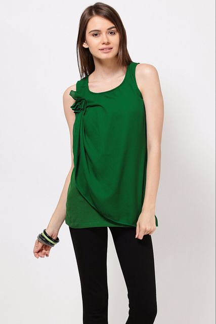 Cotton Jersey Top With Front Ggtt Panel Casual Top /TSF1903