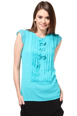 Poly Ggtt Designer Top Casual Top With Pleats At Front /TSF1907
