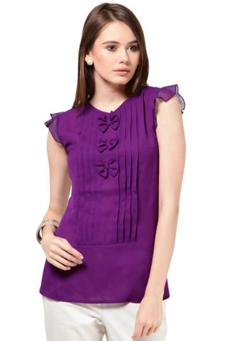 Poly Ggtt Designer Top Casual Top With Pleats At Front /TSF1908