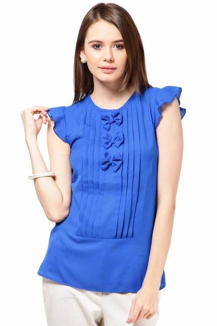 Poly Ggtt Designer Top Casual Top With Pleats At Front /TSF1909