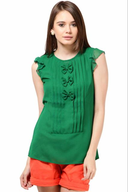 Poly Ggtt Designer Top Casual Top With Pleats At Front /TSF1921