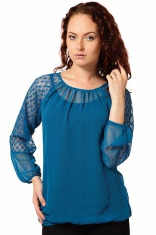 Poly Ggtt Top With Lace Fabric Styling At Sleeve /TSF1992