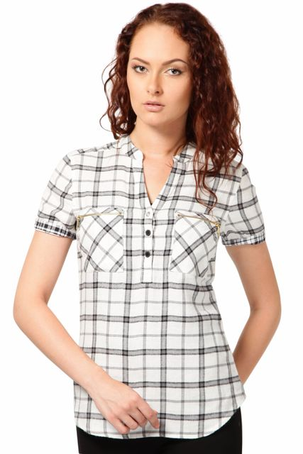 Top In Brushed Cotton Check Fabric /TSF2011