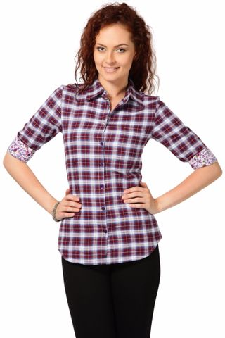 Top In Brushed Cotton Check Fabric /TSF2021