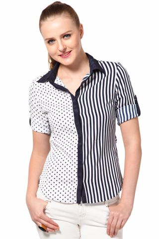 Basic Shirt With Contrast Front Half /TSF2057