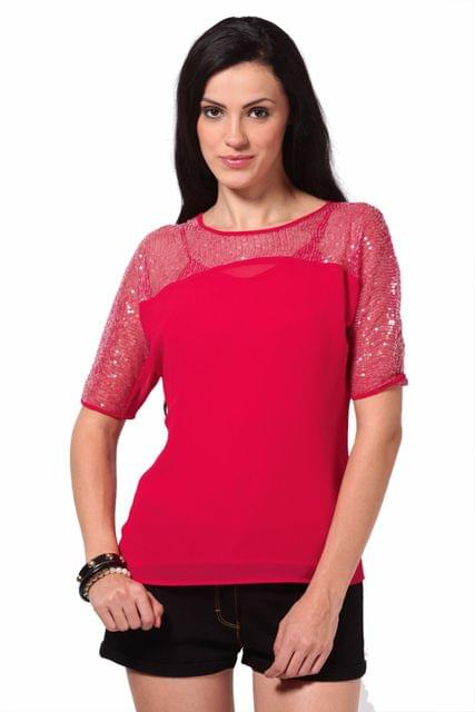 Top With Front Yoke In Sequin Fabric /TSF2063