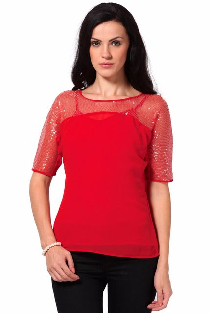 Top With Front Yoke In Sequin Fabric /TSF2064